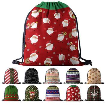 Creative Cartoon Pattern Christmas Drawstring Backpack Fashion 3D Print Drawstring Bag Drawstring Sack Festival Gifts For Xmas фото