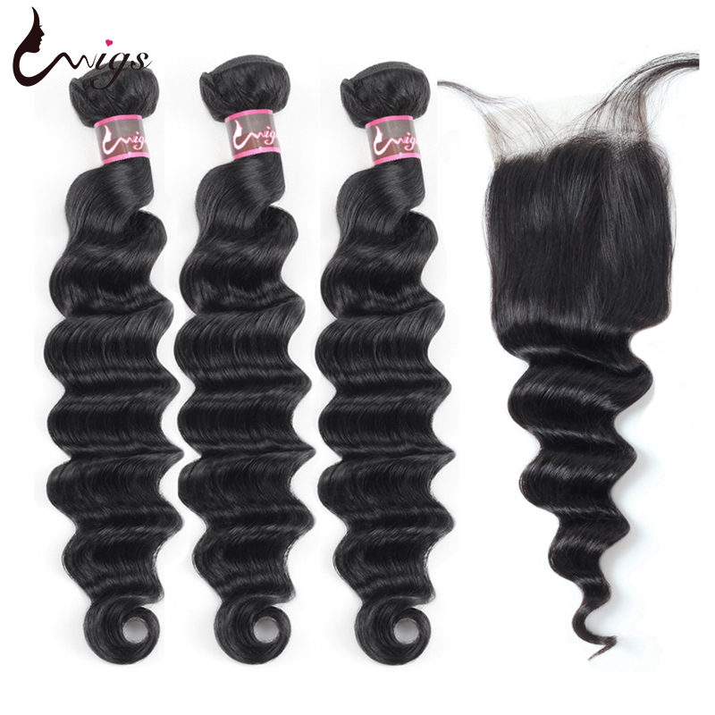Uwigs Brazilian Loose Deep Wave Bundles With Closure Virgin Hair Bundles With Closure