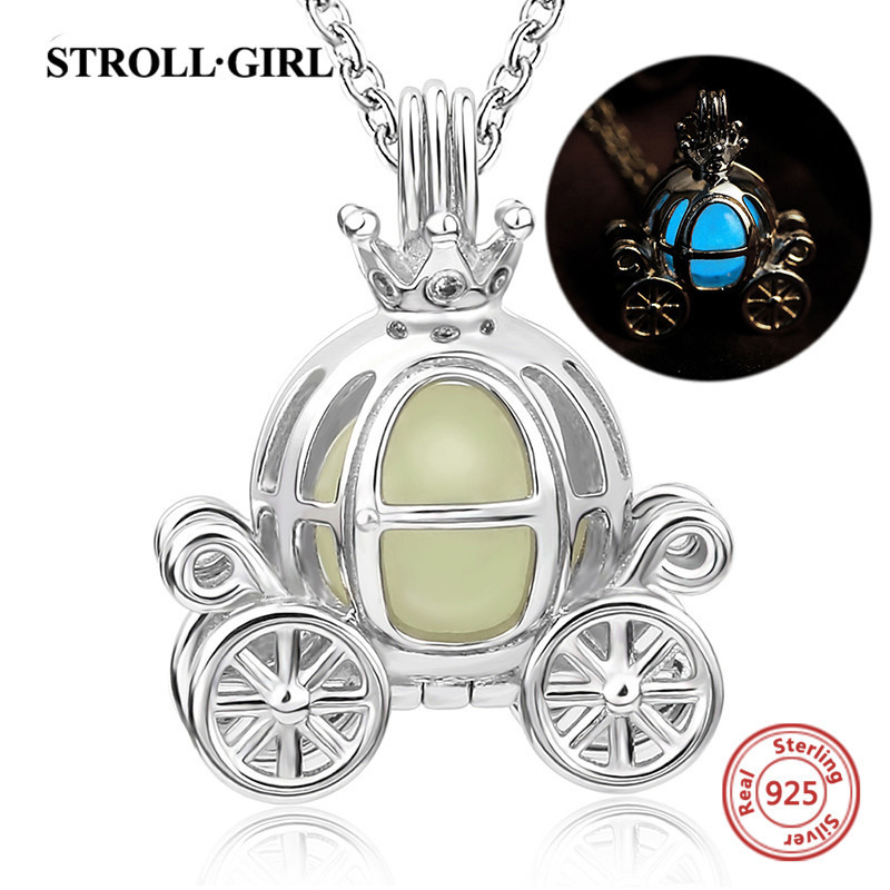 StrollGirl 100% 925 sterling silver cute carriage glowing pendant necklaces for women fashion jewelry
