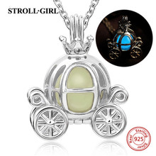 StrollGirl 100% 925 sterling silver cute carriage glowing pendant necklaces for women fashion sterling silver jewelry new 925 sterling silver zircon square circle necklaces pendant fashion sterling silver jewelry statement for women bijoux