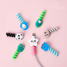 Mohamm 1Pc Cartoon Spiral USB Protector Charging Cable Saver Silicone Bobbin Winder For Cell Phone