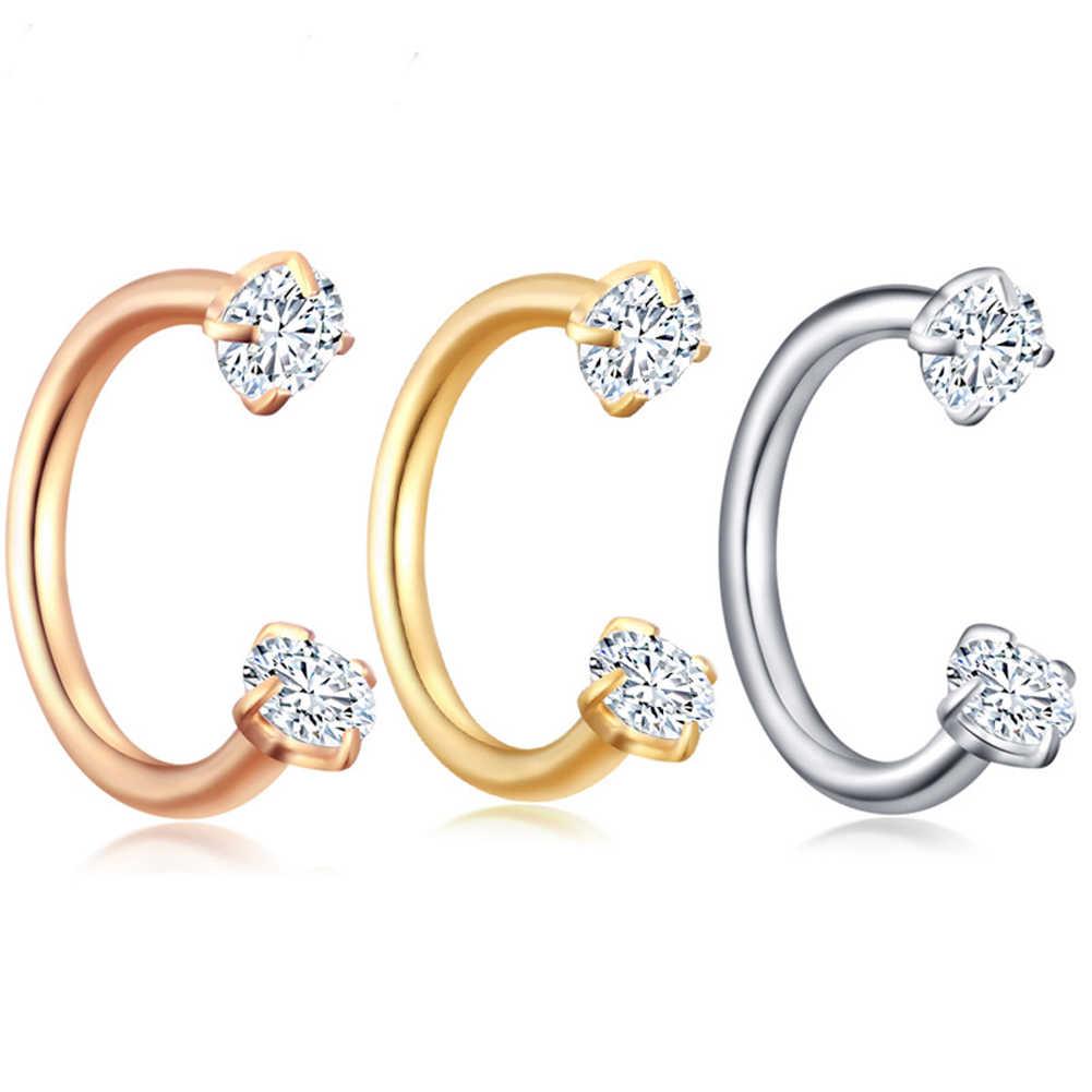 แฟชั่นน่ารักปลอมเจาะไทเทเนียมแหวนผู้หญิงสแตนเลสสตีลคลิป Hoop Septum เครื่องประดับของขวัญ PARTY