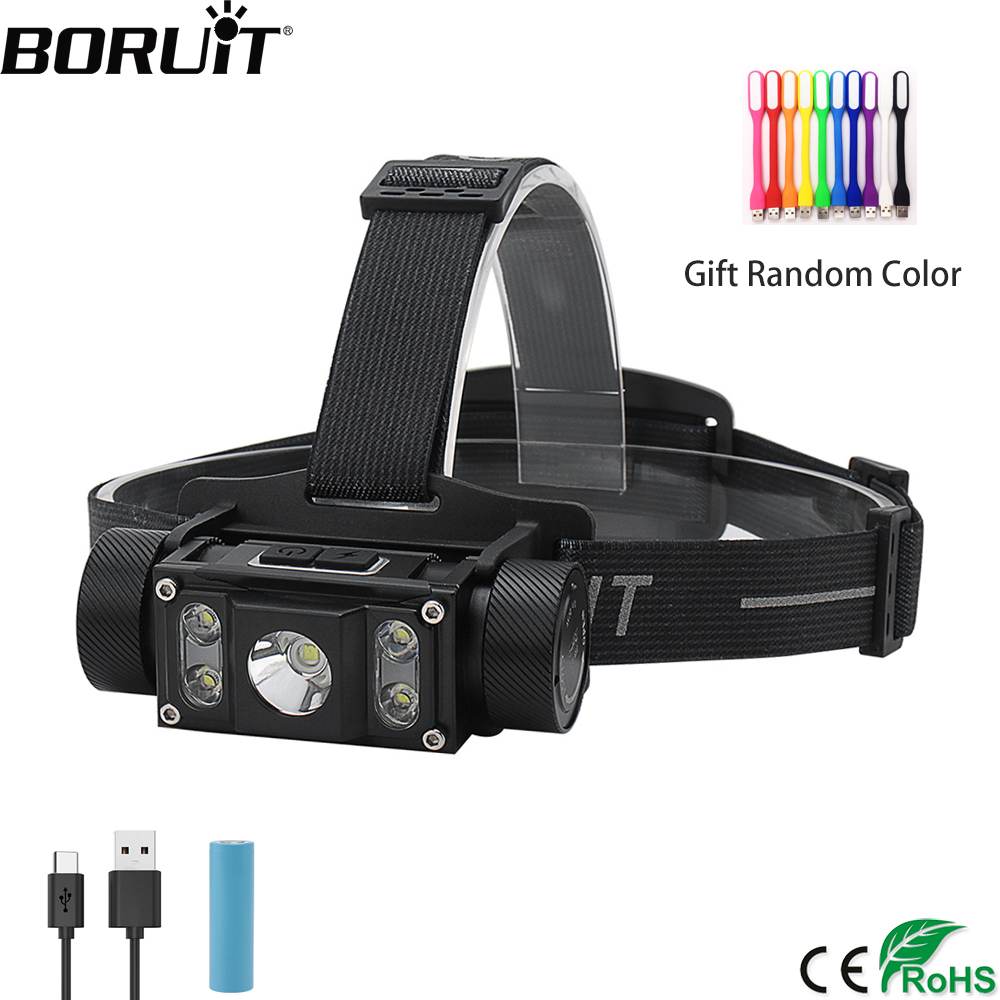 BORUiT B50 LED Headlamp XM L2+4*XP G2 Max.6000LM Headlight 21700/18650 TYPE C Rechargeable Head Torch Camping Hunting Flashlight|Headlamps|   - AliExpress