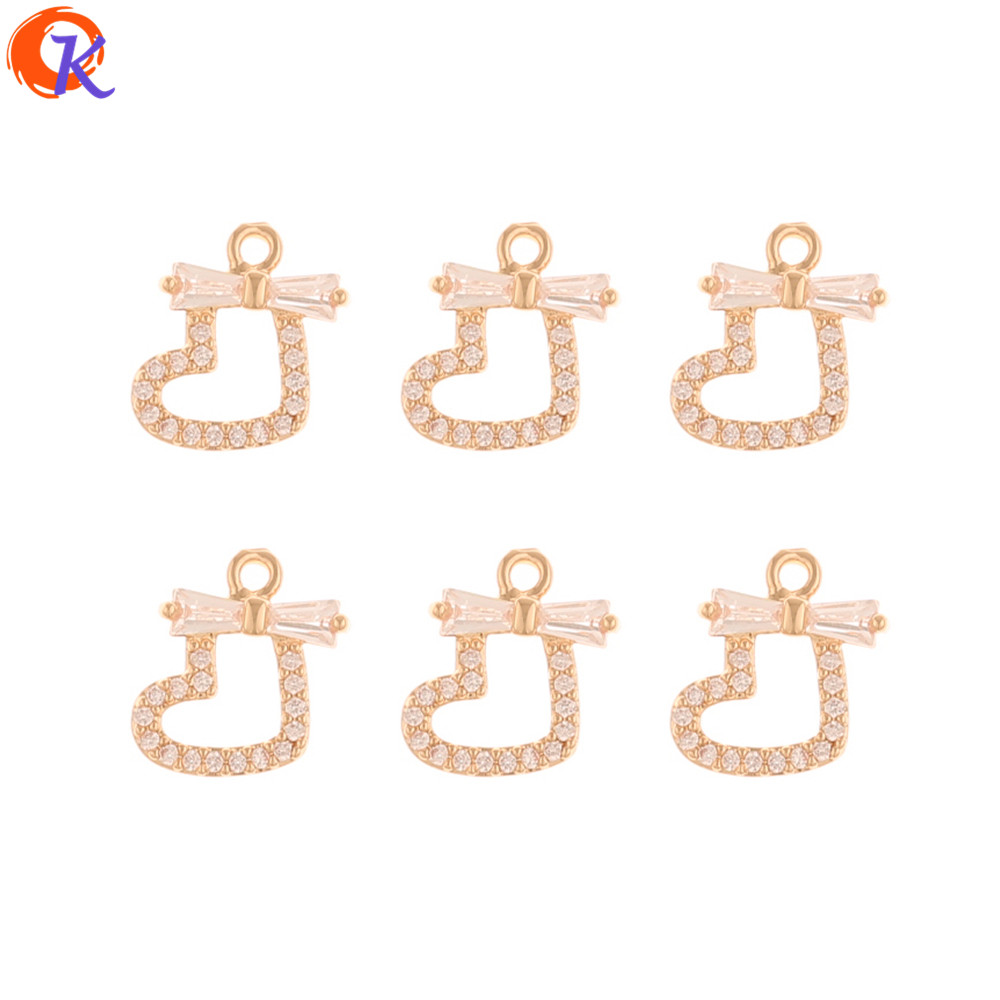 Cordial Design 50Pcs 10*12MM CZ Charms/Jewelry Accessories/DIY Making/Earrings Connectors/Heart Shape/Hand Made/Earring Findings