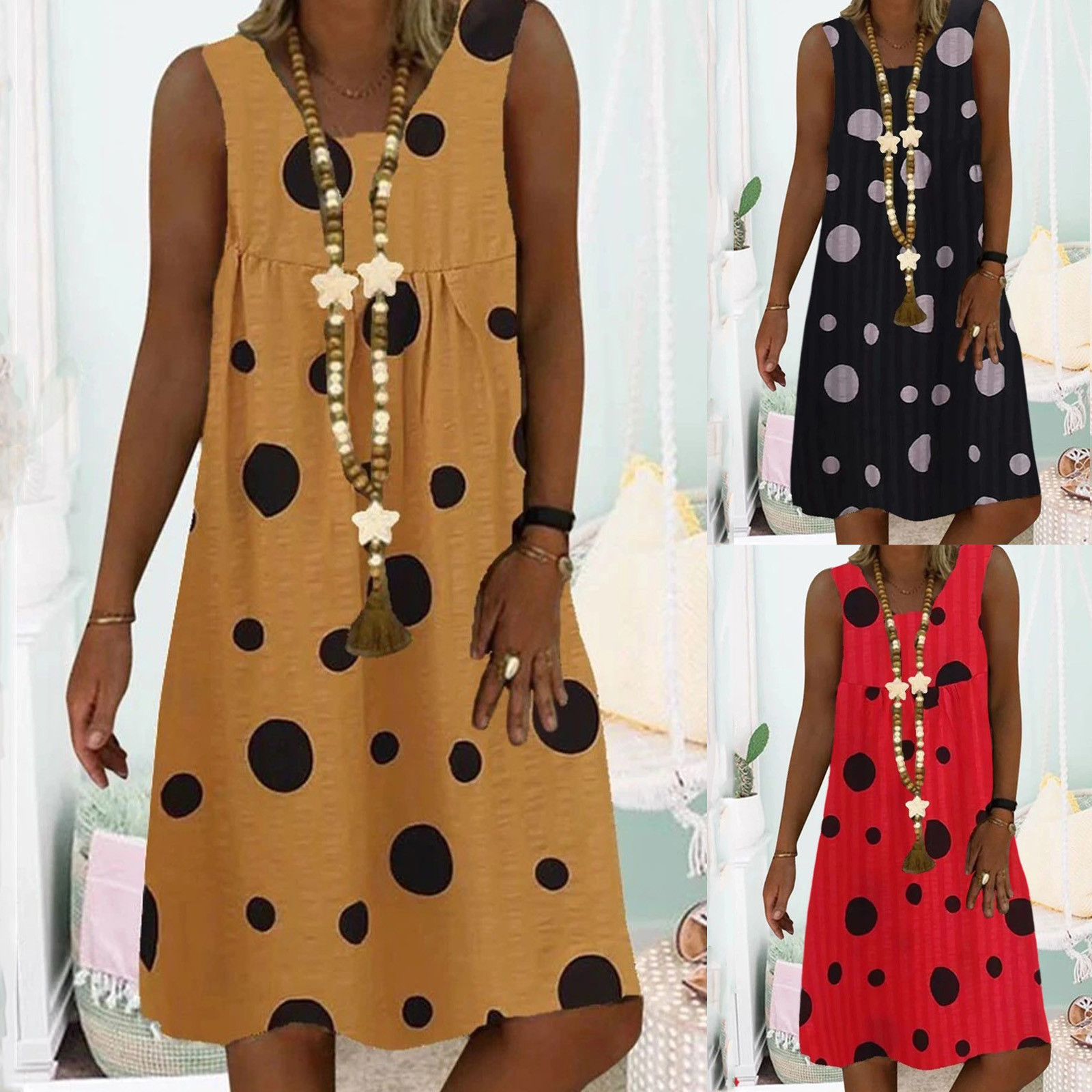 4# Women Plus Size Wave Point Print Daily Casual Sleeveless Vintage Bohemian Dress Summer Casual Vacation Slim Dress Women
