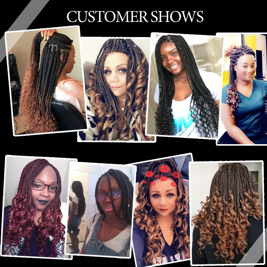 TOMO 14 18 24 Inch Crochet Hair Box Braids Curly Ends Ombre Synthetic Hair for Braid 22 Strands Braiding Hair Extensions in Box Braids from Hair Extensions Wigs