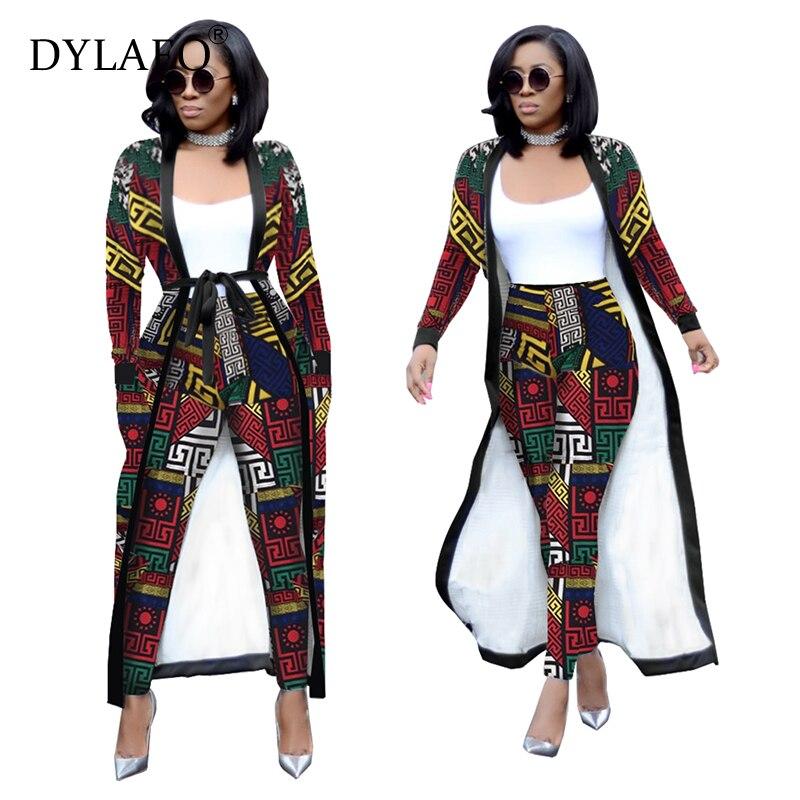 Print Women Suit Elegant Long Cardigan Coat Top + Legging Pants With Pockets Belts 2 Piece Set Fashion Streetwear Female Outfits
