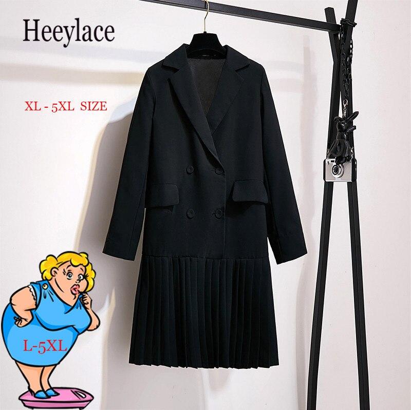 Plus Size Women's Autumn Black Notched Long Blazer Dress Coat For Office Lady Work Wear Pleat Dress Blazer Suit For Fat Beauty