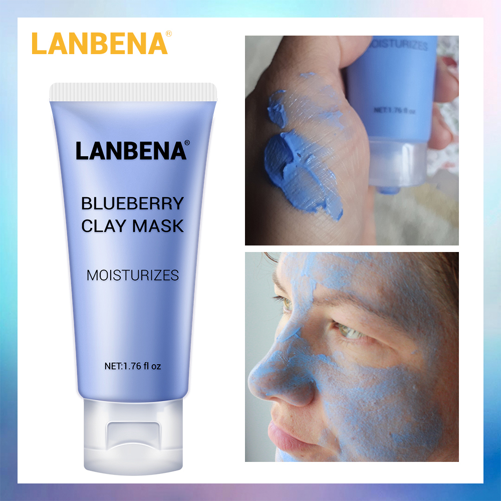 LANBENA Blueberry Clay Face Mask Refreshing Anti-Aging Deep Cleaning Remove Grease Shrinks Pores Nourishing Lighting Skin Care