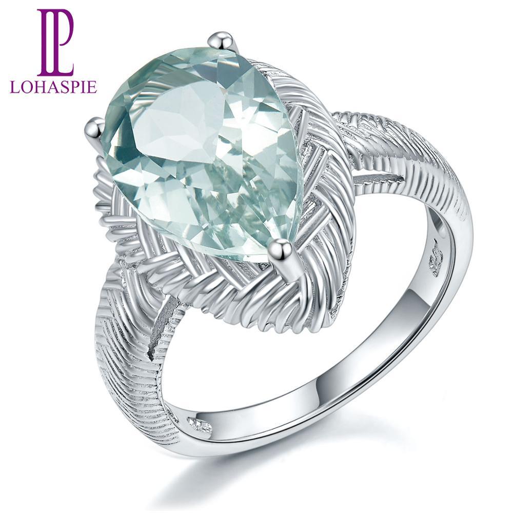 LP 925 bijoux en argent Sterling naturel 5.0 Carat vert améthyste bague de Cocktail Fine mode bijoux en pierres précieuses pour les femmes cadeau