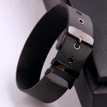 Classic 316L Stainless Steel Black Color Belt Design Link Chain Bracelet Bangle Mens Womens Jewelry Adjustable Size 15-19.5cm