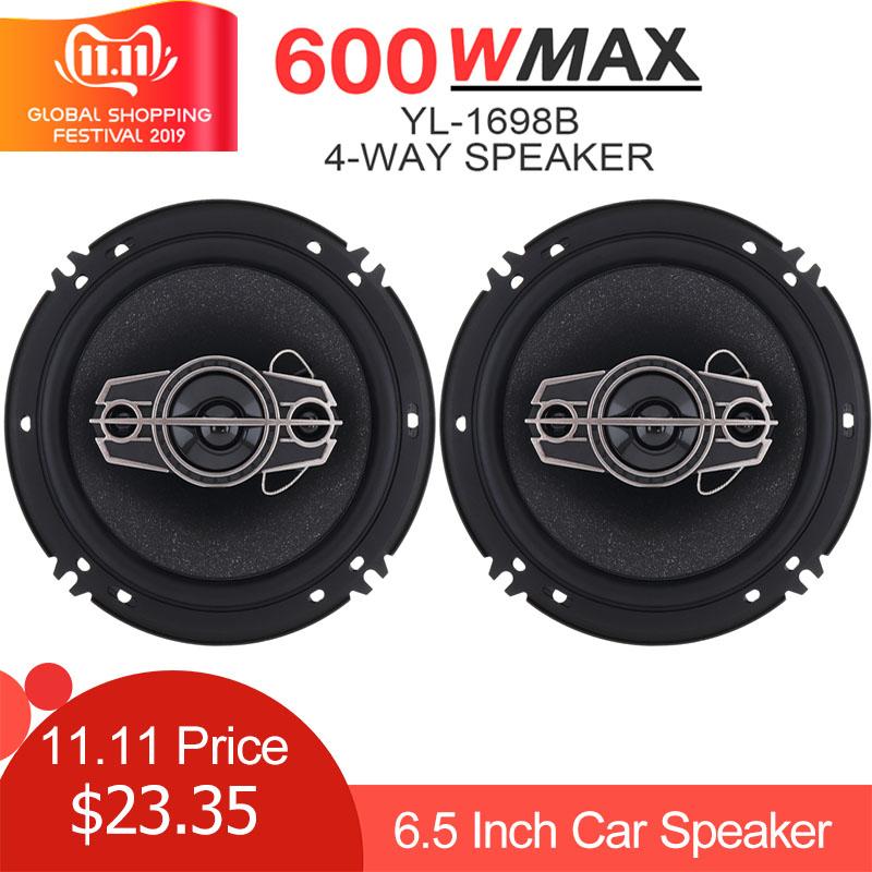 2pcs 6.5 Inch 600W 4 Way Car Coaxial Speaker Auto Music Stereo Full Range Frequency Hifi Speaker Loudspeaker Non-destructive