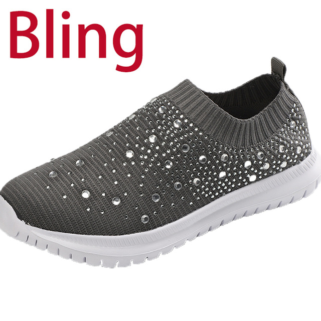 Summer Sneakers Women Flat Shoes Crystal Fashion Bling Sneakers Casual Slip On Sock Trainers Ladies Vulcanize
