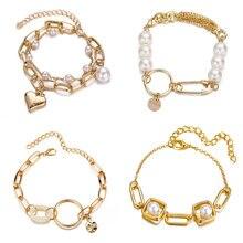 Корейские золотые браслеты с круглыми пряжками в форме сердца