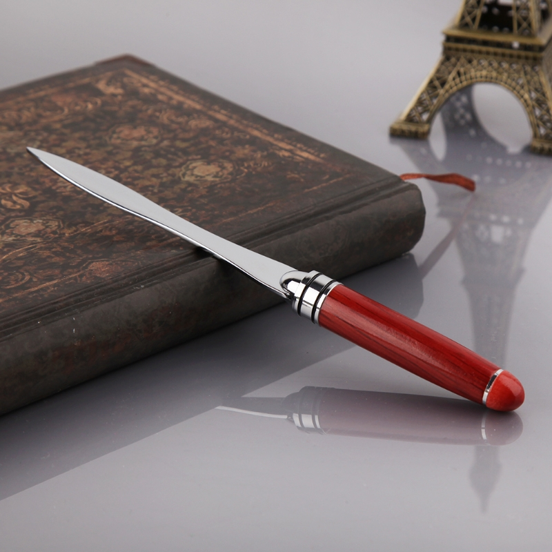 Wood Handle Letter Opener Stainless Steel Knife Split File Envelopes Stationery LX9A