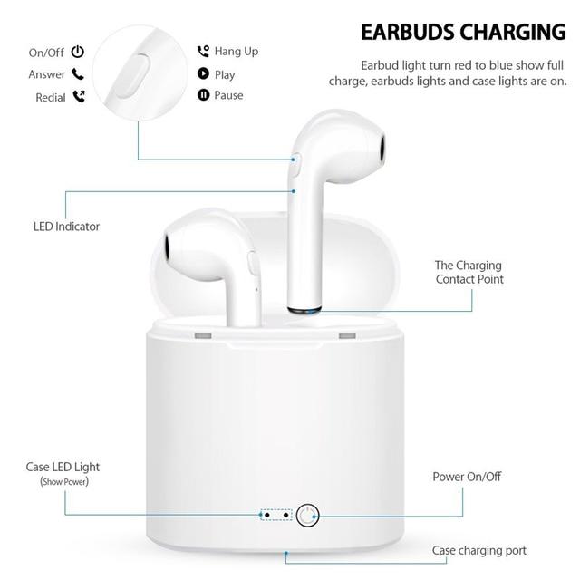 I7s TWS Bluetooth Earphone Stereo Earbud Wireless Bluetooth Earphones In-ear Headsets For All Smart Phone Sport headphones 4