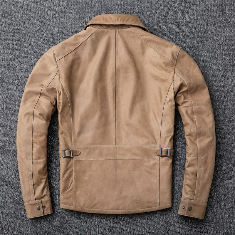 New Real Jacket Men Clothes 2020 Streetwear Fashion Mens 100% Sheepskin Coat Slim Fit Genuine Leather Coats 17573