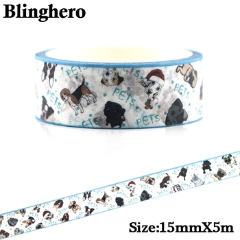 CA1094 15mm X 5m Cute Dog Washi Tape Diy Scrapbooking Crafts Adhesive Paper Masking Tape Printed Pattern Sticker Decals цена 2017