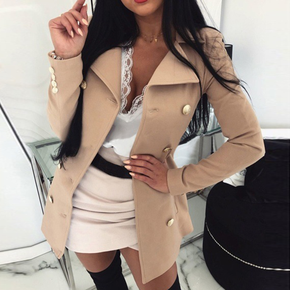 DIHOPE New Style Women Coat Solid Color Slim Buttons Jacket Casual Femme Long Sleeve Jacket Suit Blazers Ladies Tops Clothes