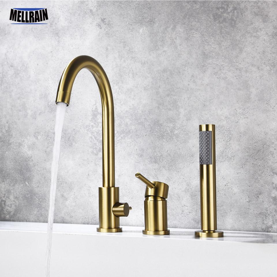 3 Holes Deck Mount Bathtub Faucet 100% Brass Pull Out Shower Faucet Bath Tub Hot & Cold Mixer Water Tap