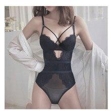 צרפתית מותג סקסי תחרה תחתונים Bodycon הולו נשים סופר לדחוף את חזיית סט קיץ Ultrathin שקוף Onesies תחתוני סטים