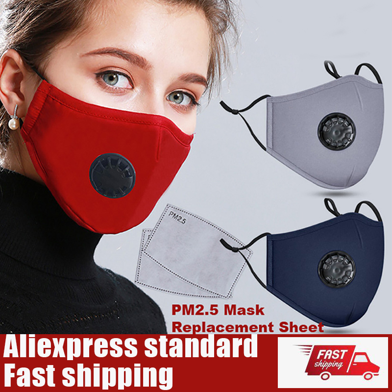 Protective Mouth Masks Activated Carbon Filter Breathable Mouth-muffle Mask Dustproof 1pc Cotton Face Mask + 2pcs Pm2.5 Filter