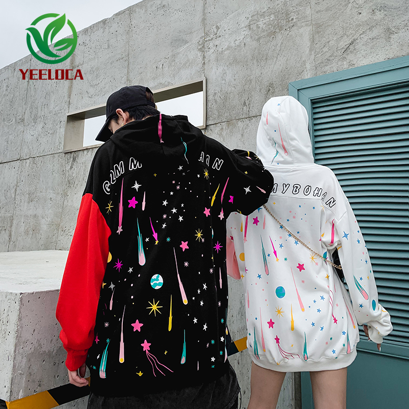 Shirt Hooded Oversize Graffiti Autumn High-Street Winter Long-Sleeved Couple Fashion