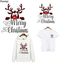 Poemyi Merry Christmas Elk Patches Cute Deer Stripes Thermo Stickers Applique on Clothes Anime Iron on Transfers for Clothing R