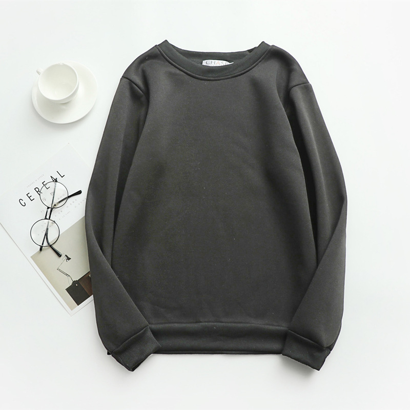 Women Solid Sweatshirts Korean Style Autumn Ladies Student Round Neck Long Sleeve Loose Pullover Tops WDC6301 7