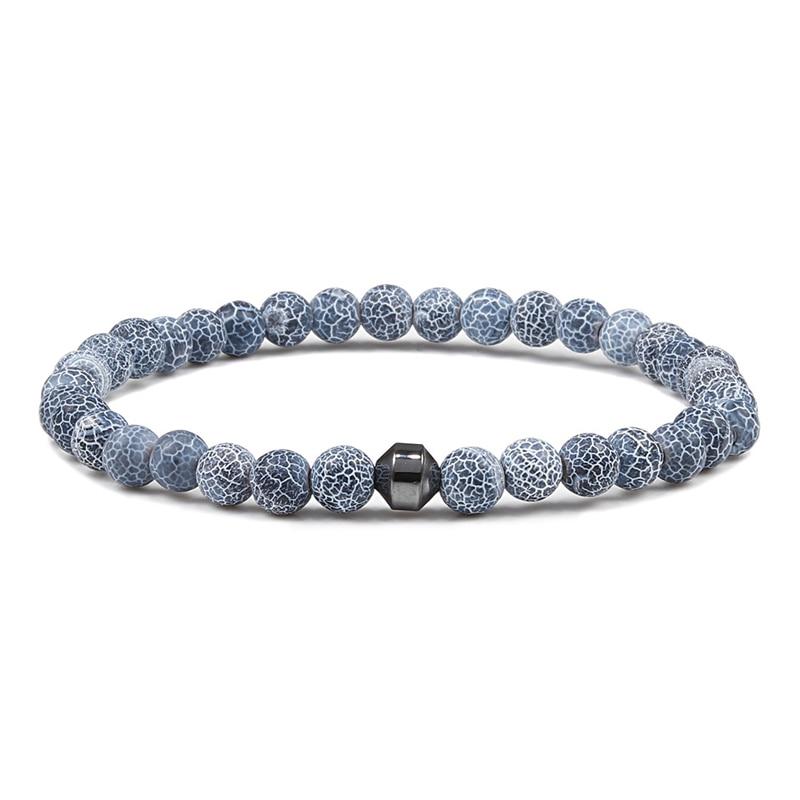 Classic Men Bracelet 6mm Natural Lava Stone Bead Energy Hematite Strand Thin Bracelets Bangles Homme Yoga Jewelry Pulsera Hombre 3