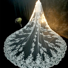 Wedding Veils Cathedral Comb Lace-Edge Applique Ivory White Long Luxury with Elegant