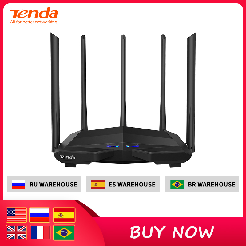 Tenda Wireless-Router Antennas Setup Gigabit Dual-Band AC1200 High-Gain with 5--6dbi title=