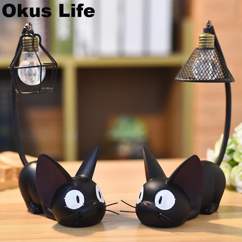 2PCS Gigi Cat LED Night Light Creative Resin Children Toy Lamp Bedside Table Lamp Home Room Desk Decoration For Birthday Gift