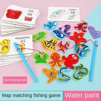 Children's wooden animal puzzle matching cognitive early education educational toy animal name cognitive magnetic fishing game kids creative wooden puzzle iron box kindergarten baby early education cartoon animal traffic puzzle cognitive interactive game