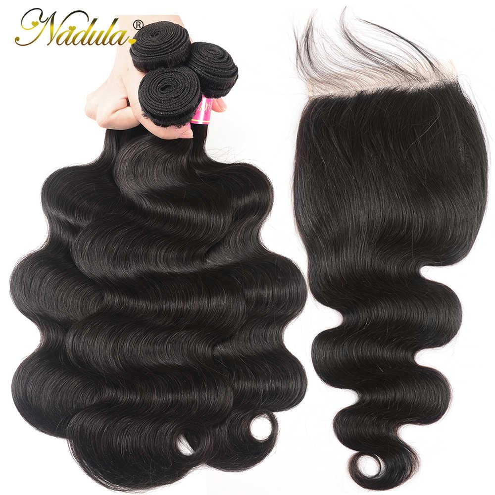 Nadual пучки волнистых волос для тела с закрытием 6x6 Кружева Закрытие Средний Коричневый Бразильские человеческие пучки волос с закрытием