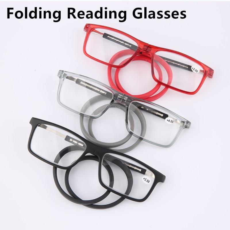 Unisex Magnet Reading Glasses Men And Women Adjustable Hanging Neck Magnetic Soft  Magnetic Vintage Folding Reading Eyeglasses