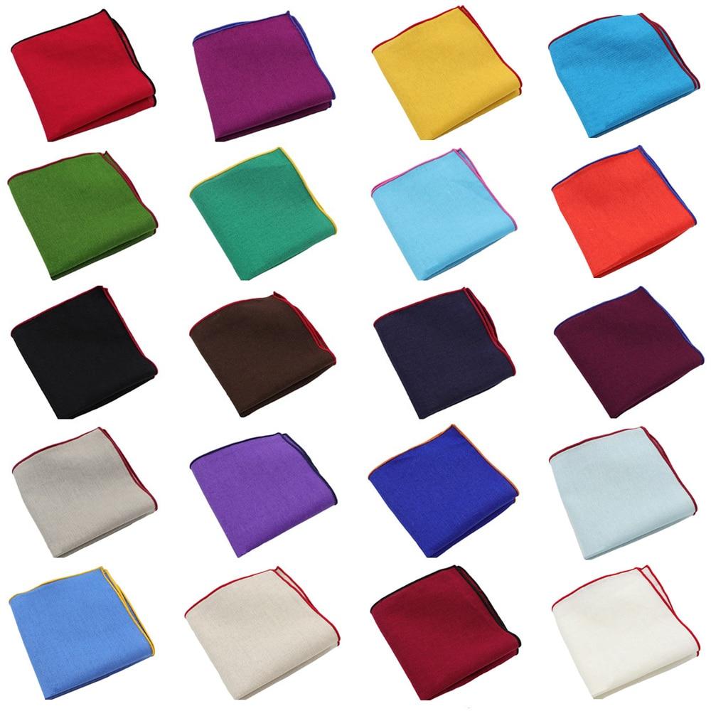 Men Classic Linen Cotton Colorful Pocket Square Hanky Wedding Party Handkerchief
