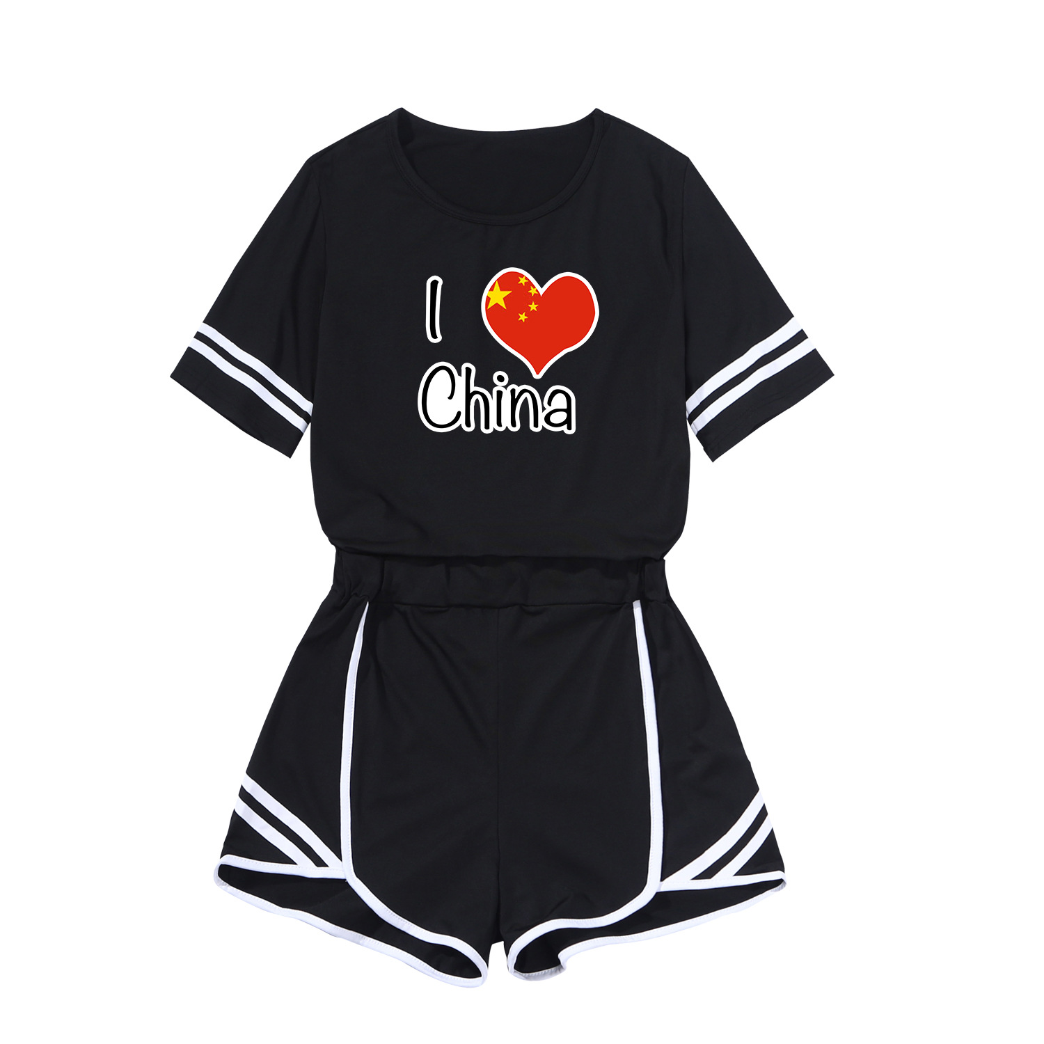 I LOVE Pattern WOMEN'S Dress Printed Short Skirt Fashion Leisure Suit Sports Set