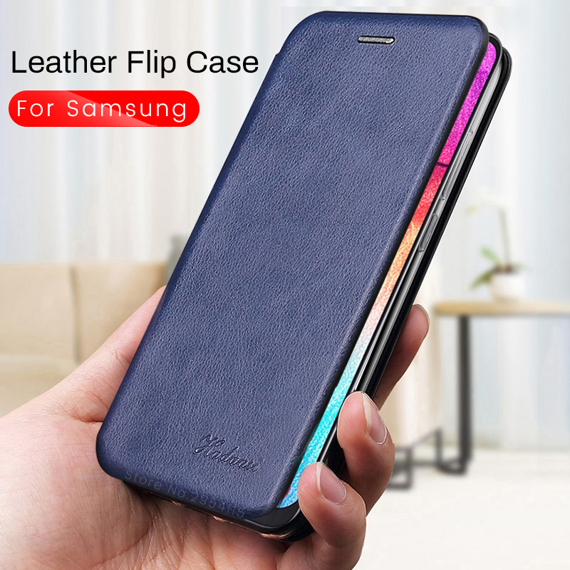 leather flip case for samsung galaxy a50 a30 a70 a10 a20 <font><b>a20e</b></font> a40 2019 case on <font><b>sansung</b></font> note 10 s10 plus wallet coque stand cover image