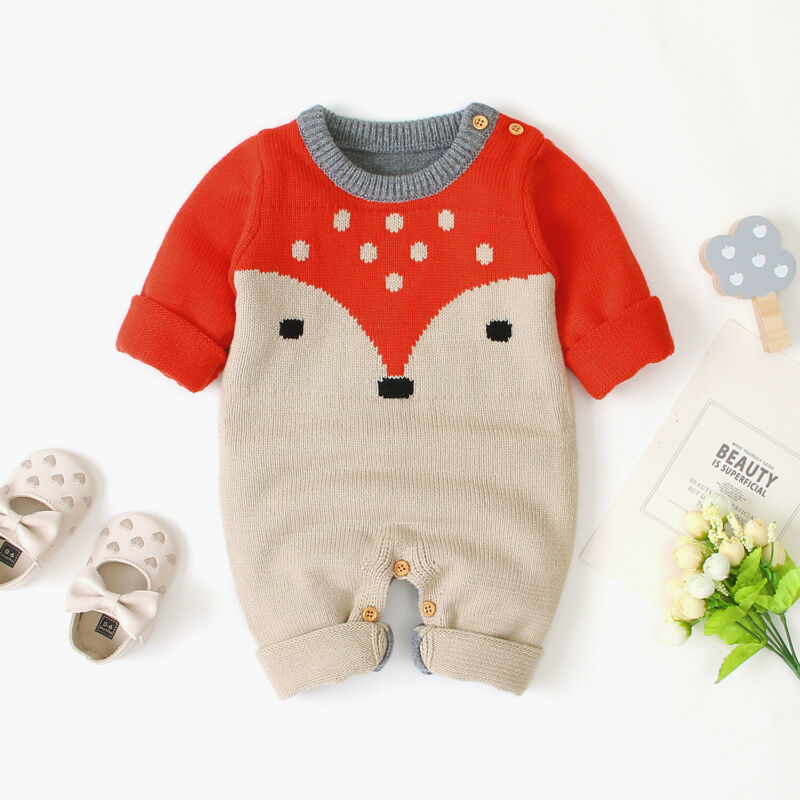 2020 Cute Baby Boy Girl Knitted Romper Newborn Baby Winter Warm Clothes Long Sleeve Sweater Jumpsuit O-Neck Knitwear 0-18M