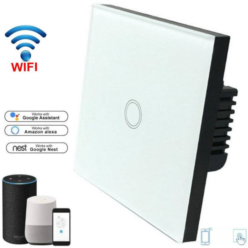 Wi-fi sem fio Interruptor de Toque Interruptor de Luz com Painel De Vidro interruptor De Parede wi-fi eWelink AC90-240V App Inteligente Interruptor Padrão DA UE