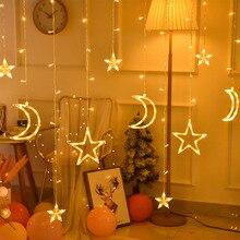 3,5 м 220 В светодиодный Звезда и луна Сказочный занавес свет Рождественская светящаяся гирлянда на открытом воздухе для свадьбы праздника нового года декора