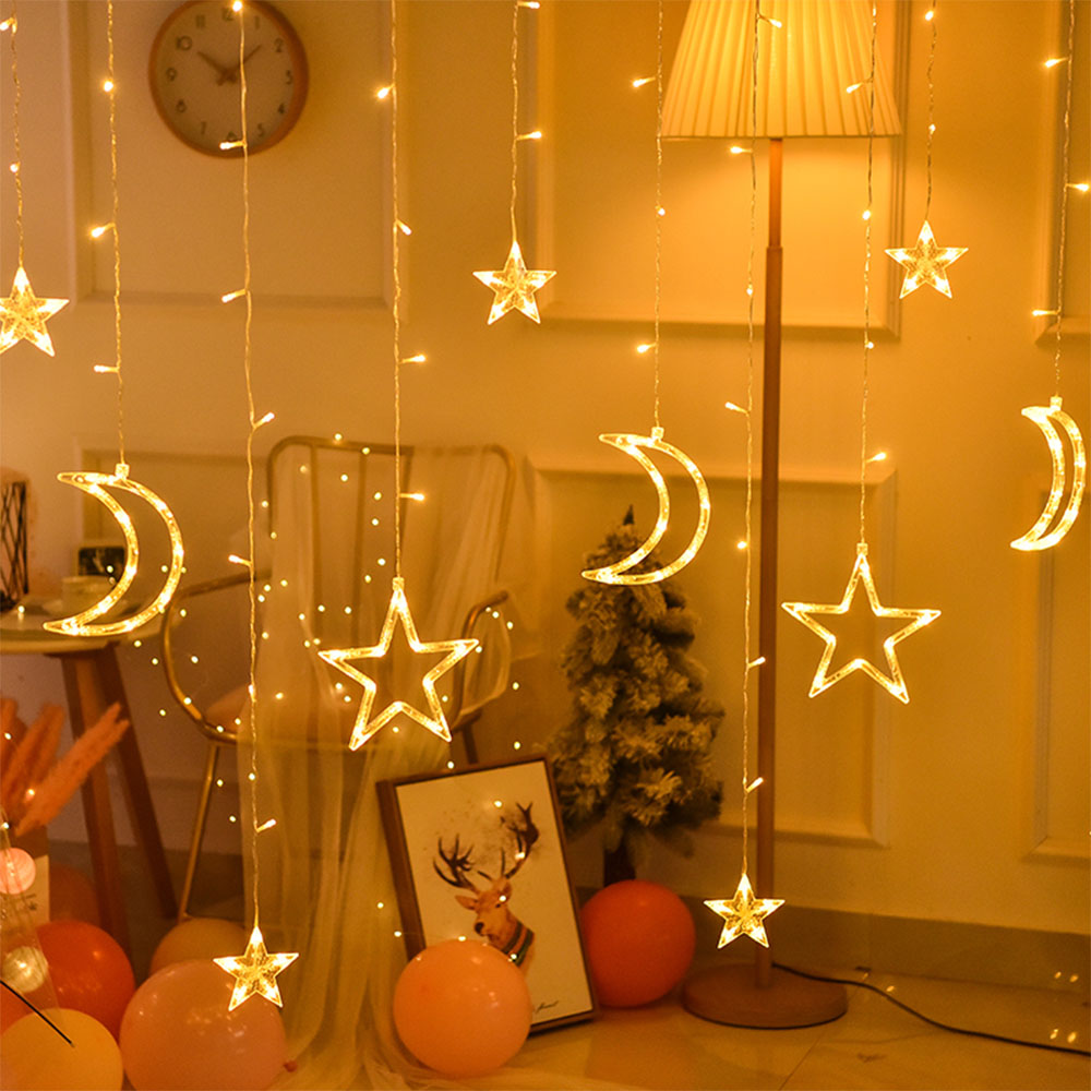 3.5M 220V LED Star And Moon Fairy Curtain Light Christmas Garland String Lights Outdoor For Wedding Party Holiday New Year Decor