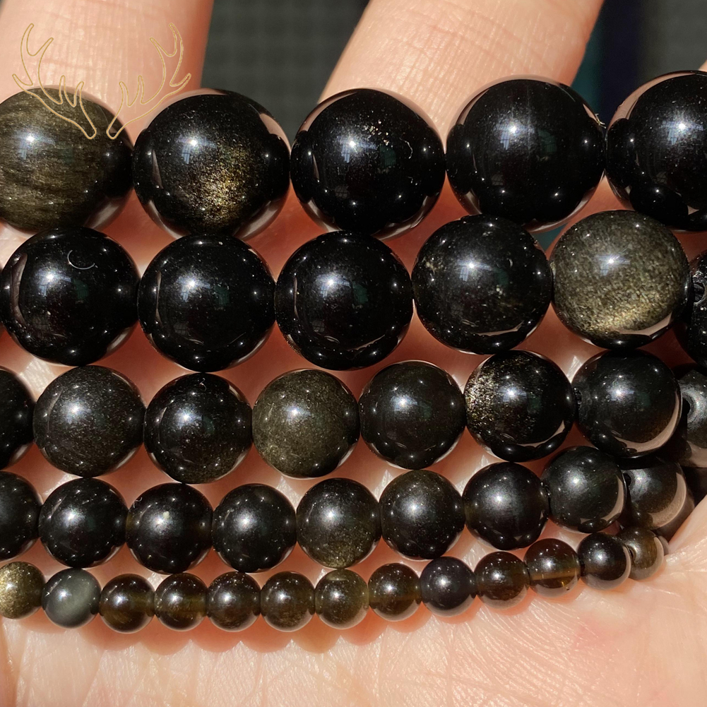 Natural Golden Obsidian Stone Beads For Jewelry Making Diy Bracelet Necklace Charm Round Spacer Beads Accessories 4 6 8 10 12mm