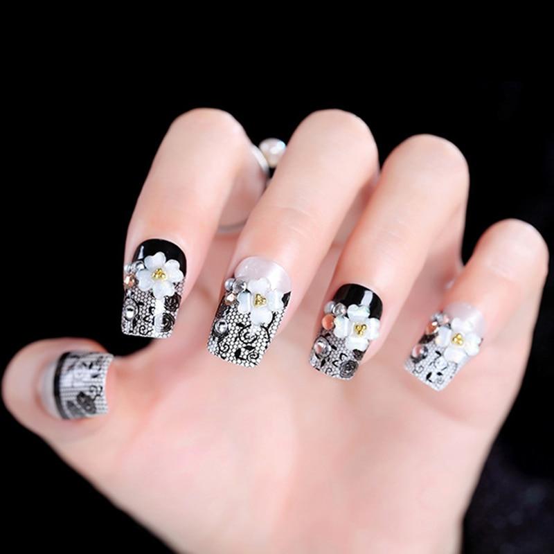 2019 pegatinas de Arte de uñas negro hueco tallado decoración de moda para la fotografía de la novia