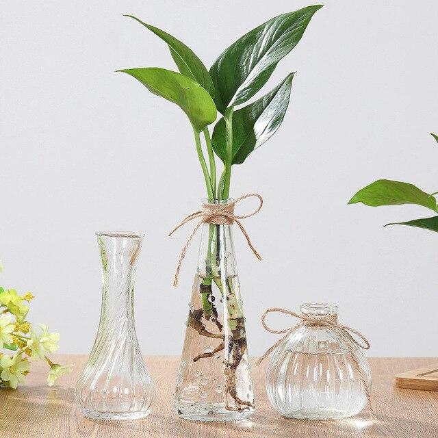 Creative Crystal Glass Vase Flower Arrangement Hydroponic Ornament European Simple Home Office Accessories Desktop Decoration 4