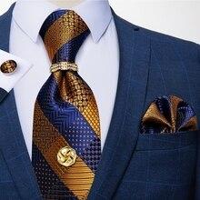 Новые официальные Галстуки золотистого и синего цвета в полоску для мужчин, 100% Шелковый галстук, набор Hanky, запонки, галстук-бабочка, галстук...