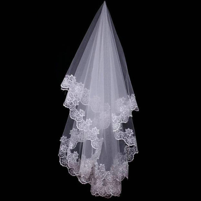 1.5M Hot Wedding Accessories Short Wedding Veil White Ivory One Layer Bridal Veil Appliques Lace Edge No Comb Originally 2
