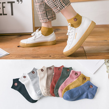 Cartoon Bear Embroidery Women Socks Autumn Cotton Breathable Solid Female Korea Style Woman