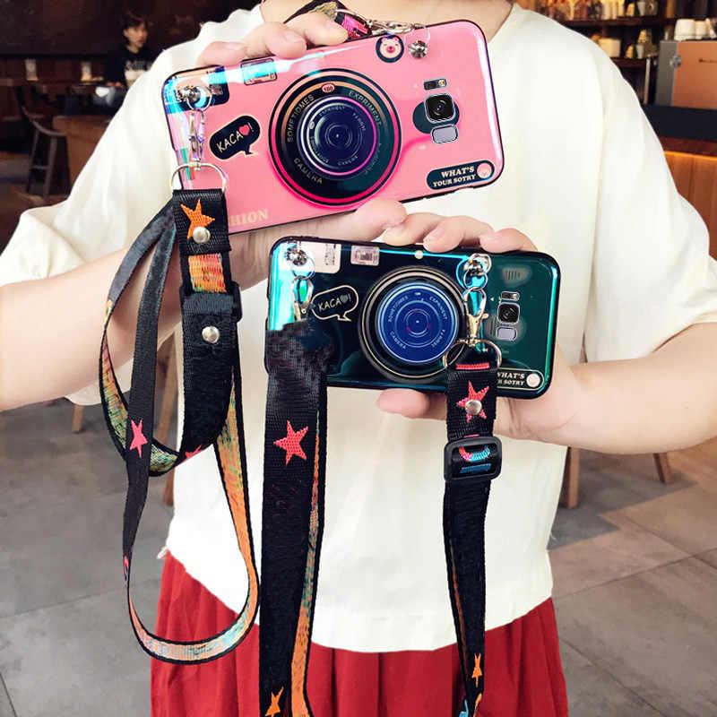 Caso da câmera 3d para huawei companheiro 20 pro p20 honra 9x10 8c 8x jogar nova 4 3 2 s y9 2018 tpu macio capa coque cordão suporte